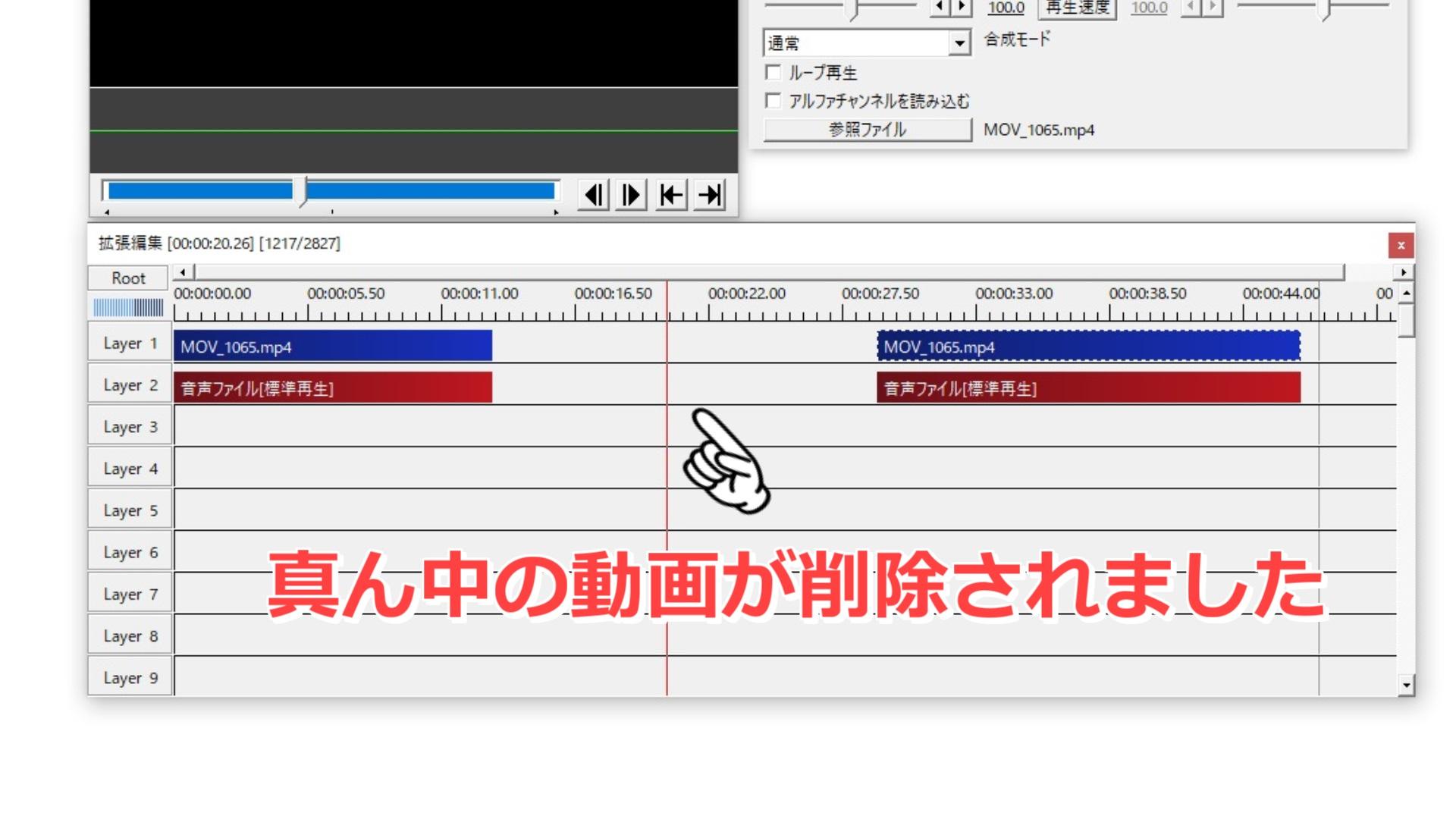動画の不要な部分の削除