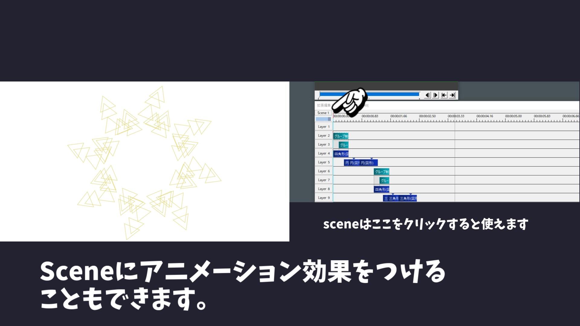 Sceneオブジェクトにはアニメーション効果をつけることもできます。