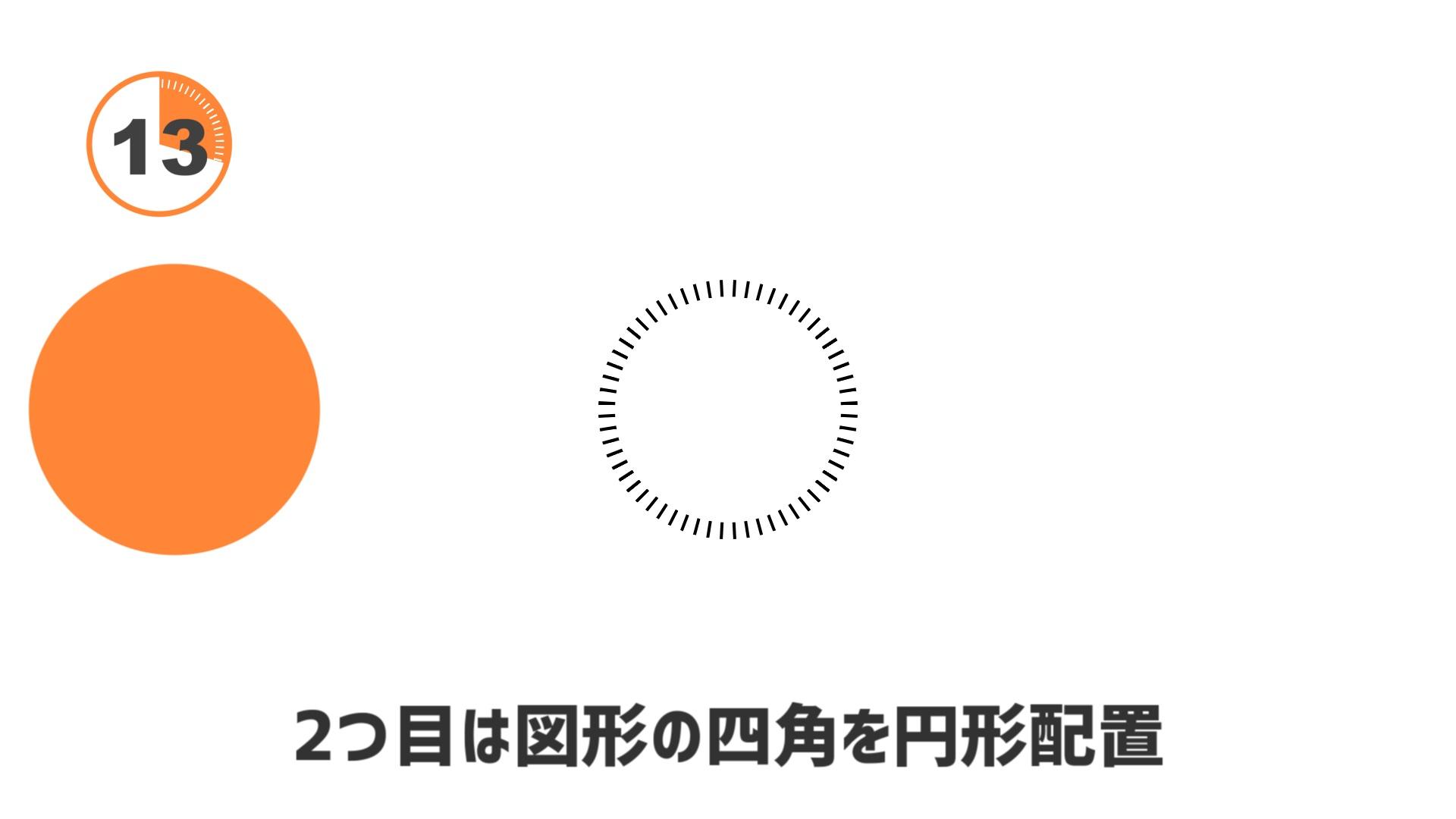 2つ目は図形の四角にアニメーション効果「円形配置」をかけて、ぐるっと円を書きます。これがあるとそれっぽい感じのタイマーになります。ただの装飾なのでこれには何のエフェクトもかけていません。