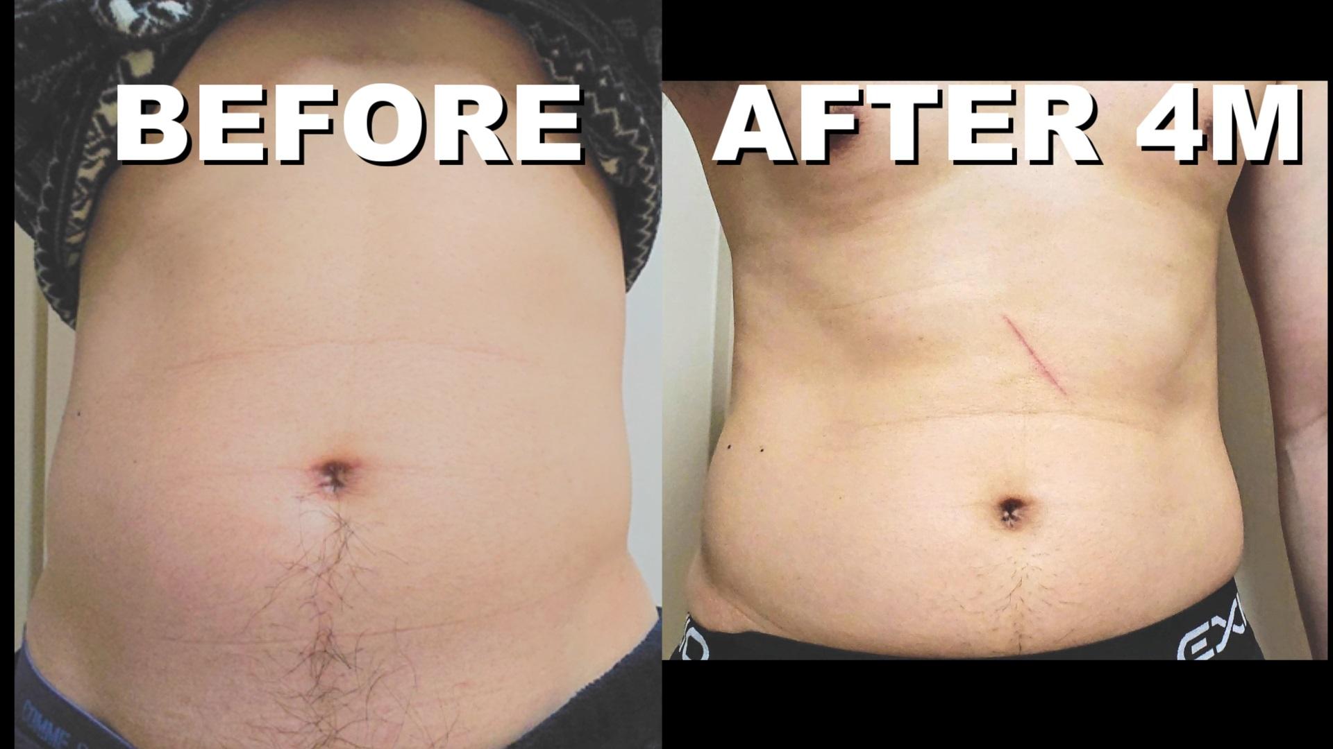 腹筋ローラーは効果ない!?ゆる~く4ヶ月続けた結果。腹筋は割れたのか?ビフォーアフターの写真。