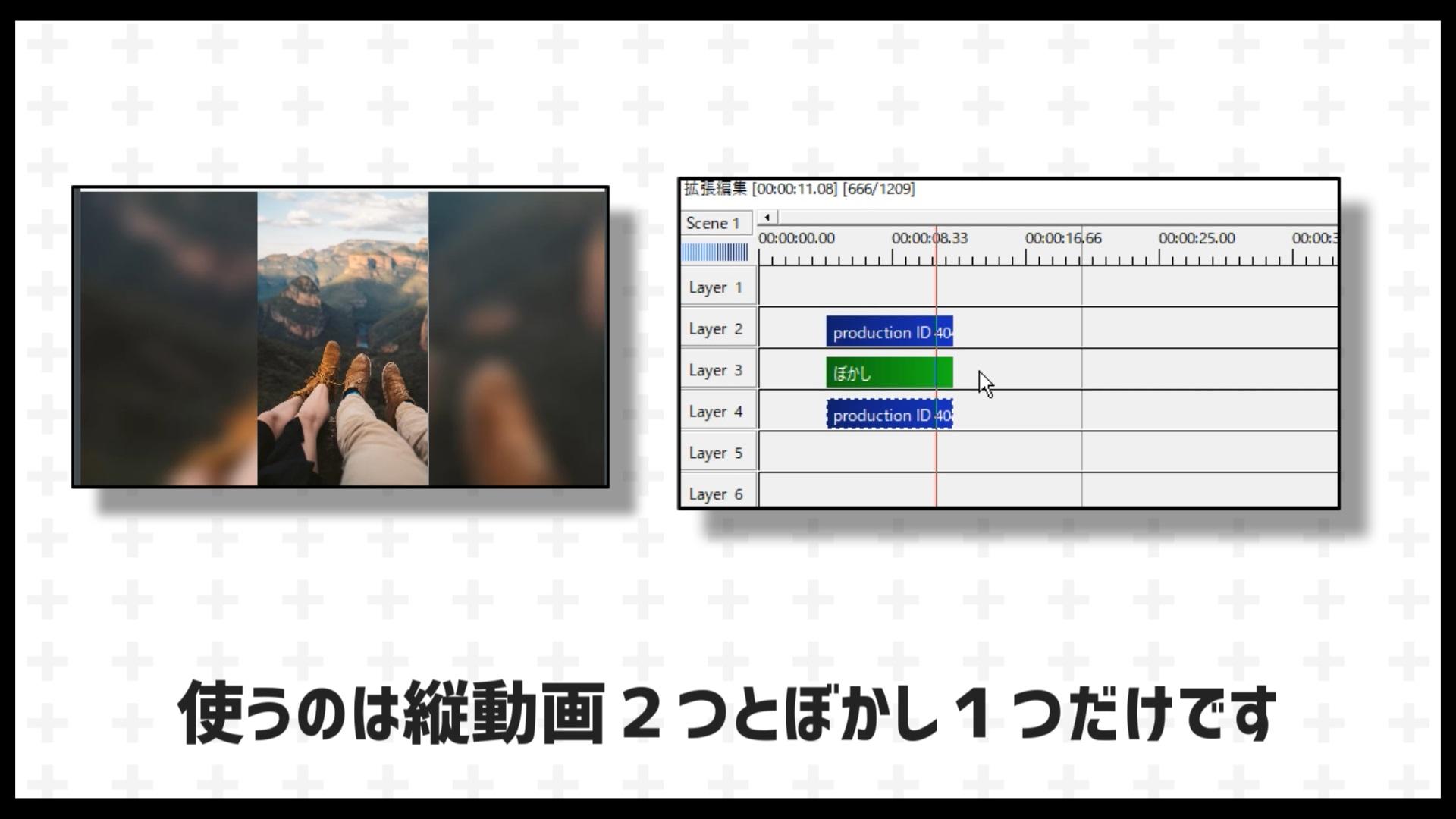 ここから編集方法の説明になります。使うのは縦動画を2つとぼかしエフェクト1つだけです。