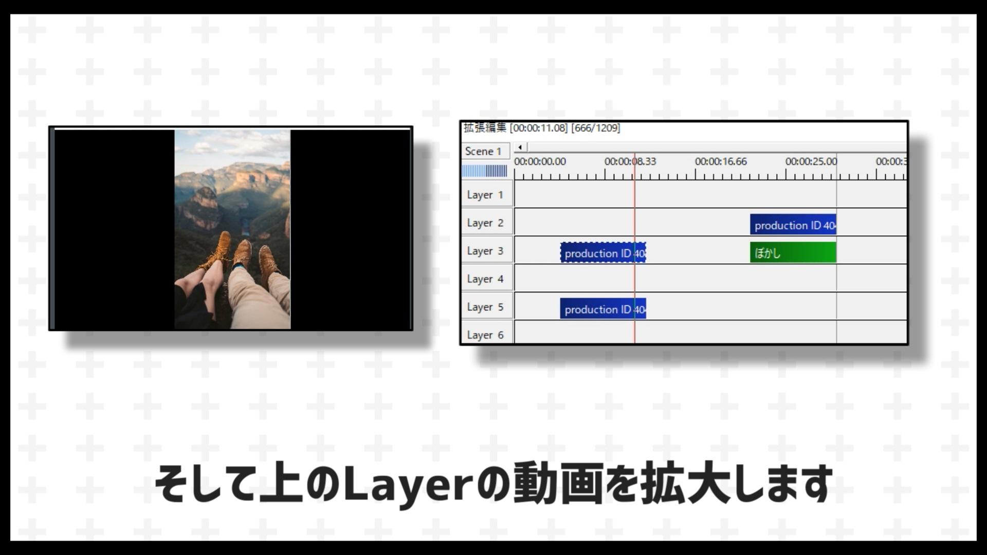 まず縦動画をコピーしておなじものを2つ用意します。そして上のLayerの動画を拡大します。余白の黒い部分が全部隠れるまで拡大しましょう。