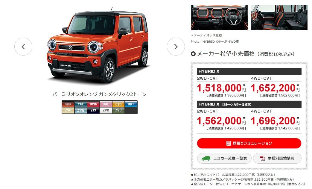 契約したのは新型ハスラーのHTBRID X(2WD)です。スズキのHPから引用すると、オプション無しで税込み1,518,000円です。