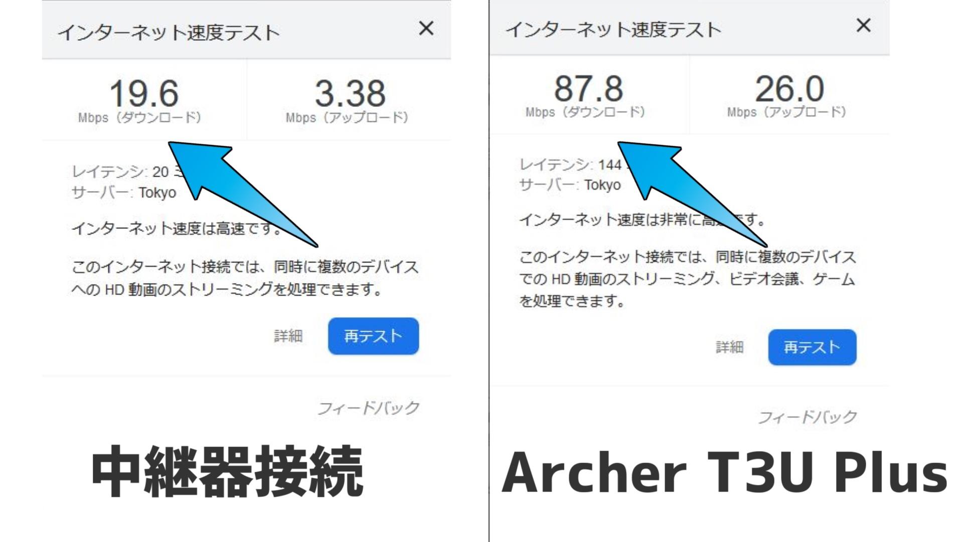 中継器は2.4GHzか5GHzか選べませんが、Archer T3U Plusは5GHzで接続しています。