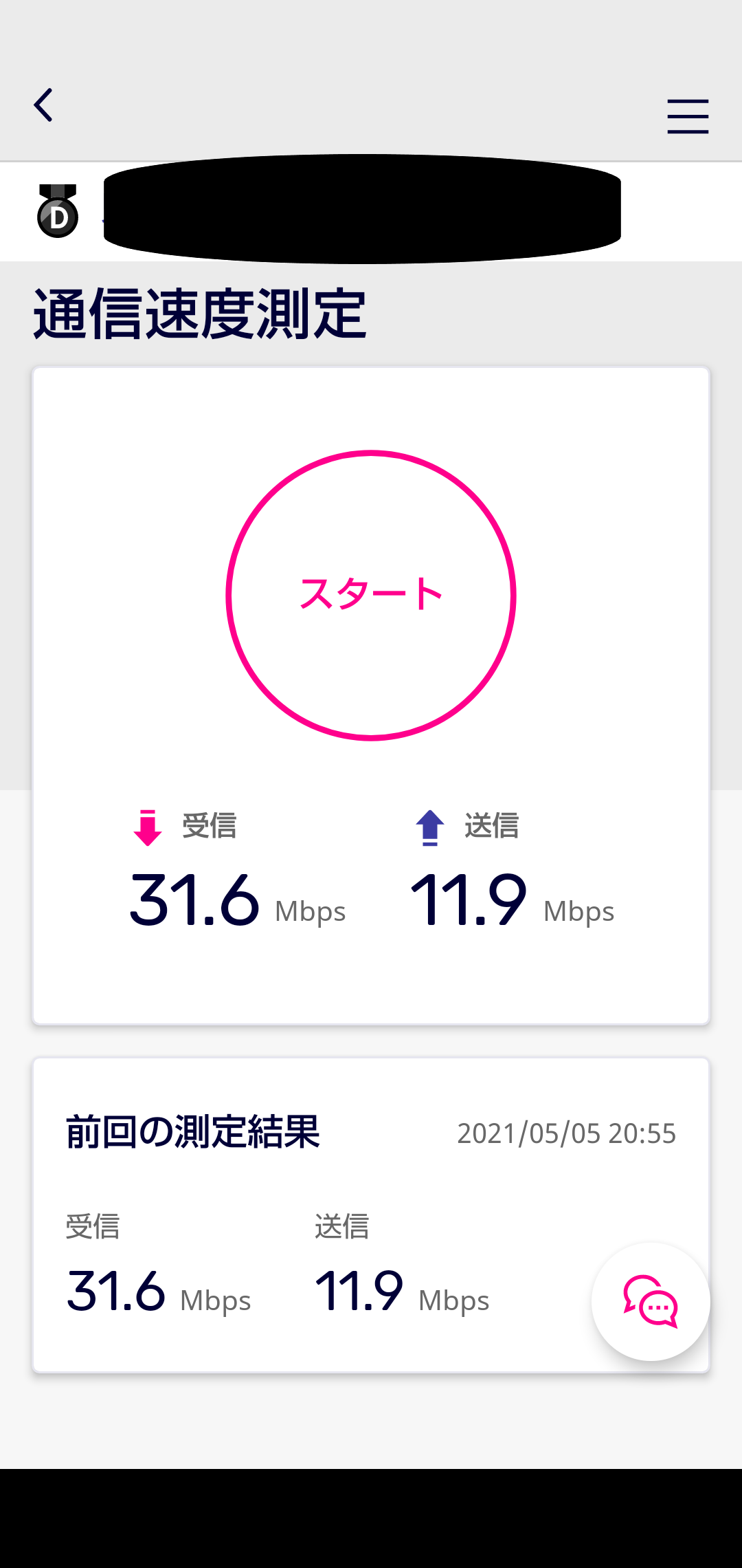 楽天回線エリアになったので、回線のスピードテストをしてみました。受信(ダウンロード)が31.6Mbps、送信(アップロード)が11.9Mbpsでした。
